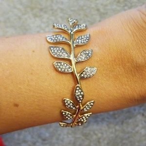 Stell & Dot Ivie gold leaf cuff bracelet.